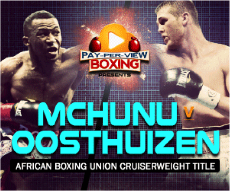 Thabiso Mchunu - On Saturday, September 1st, KlowdTV will present a battle between highly regarded cruiserweights, Thabiso Mchunu and Thomas Oosthuizen in a 12-round bout from The Emperors Palace in Kempton Park, South Africa.