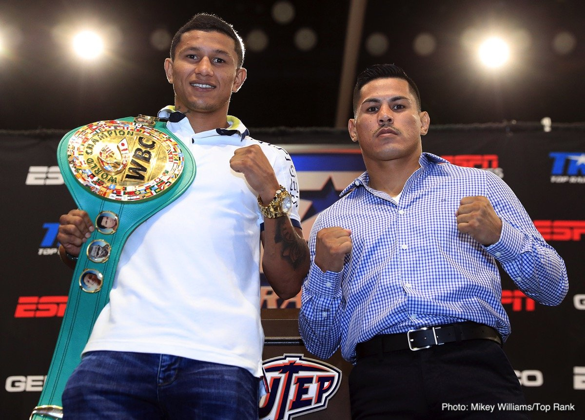 """Miguel Roman - WBC super featherweight world champion Miguel 'El Alacrán"""" Berchelt and Miguel """"Mickey"""" Roman went face-to-face on the arena floor of the Don Haskins Center, site of their Nov. 3 showdown that will, once and for all, settle this simmering grudge match."""