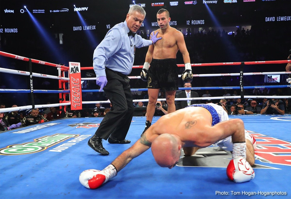 """David Lemieux - Fresh off his quick, one-round blitzing of Gary """"Spike"""" O'Sullivan, Canadian powerhouse and former IBF middleweight champ David Lemieux will return to action on the Canelo Alvarez-Rocky Fielding card in New York on December 15th. Lemieux, 40-4(34) will likely face Tureano Johnson, 20-2(14) on the DAZN card."""