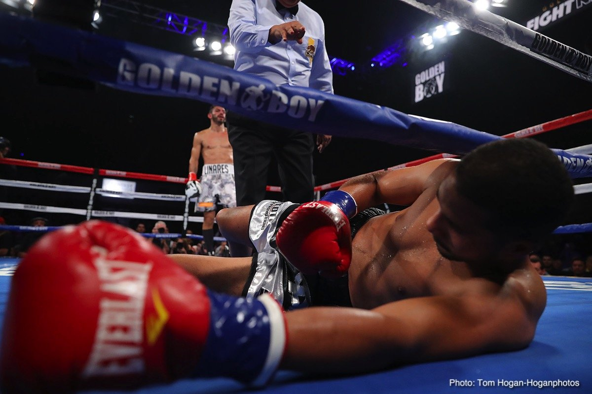 "Abner Cotto - Jorge ""El Niño de Oro"" Linares (45-4, 27 KOs), the former king of the 135-pound division of Barinas, Venezuela, scored a third-round technical knockout victory against Abner ""Pin"" Cotto (23-4, 12 KOs) of Aguas Buenas, Puerto Rico in the scheduled 12-round main event of the Sept. 29 edition of Golden Boy Fight Night at Fantasy Springs Resort Casino in Indio, Calif. Cotto was dropped two times before he was decisively brought down for a third and final time at 1:31 of the aforementioned round. Linares was successful in his first fight in the super lightweight division, where he will soon look for title opportunities."