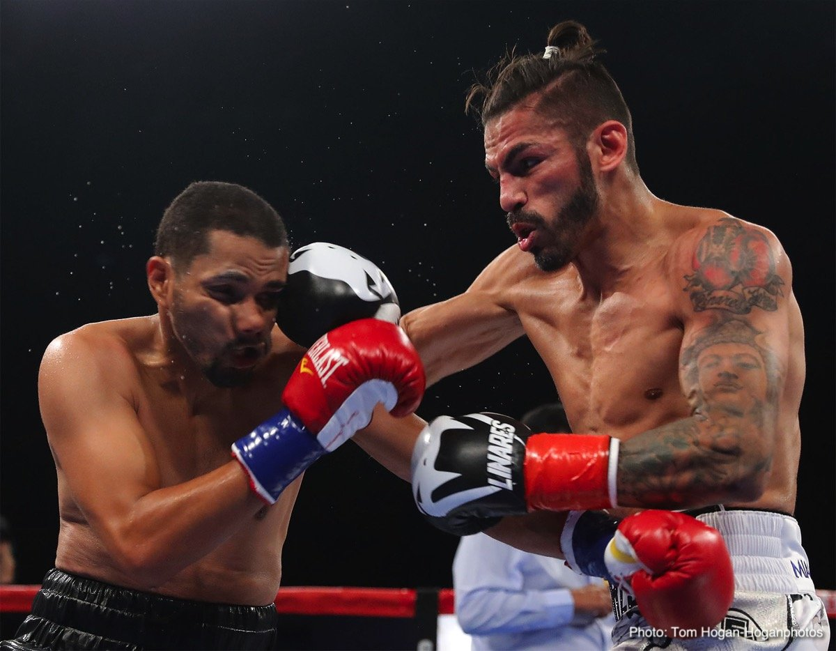 """Abner Cotto, Jorge Linares - Jorge """"El Niño de Oro"""" Linares (45-4, 27 KOs), the former king of the 135-pound division of Barinas, Venezuela, scored a third-round technical knockout victory against Abner """"Pin"""" Cotto (23-4, 12 KOs) of Aguas Buenas, Puerto Rico in the scheduled 12-round main event of the Sept. 29 edition of Golden Boy Fight Night at Fantasy Springs Resort Casino in Indio, Calif. Cotto was dropped two times before he was decisively brought down for a third and final time at 1:31 of the aforementioned round. Linares was successful in his first fight in the super lightweight division, where he will soon look for title opportunities."""