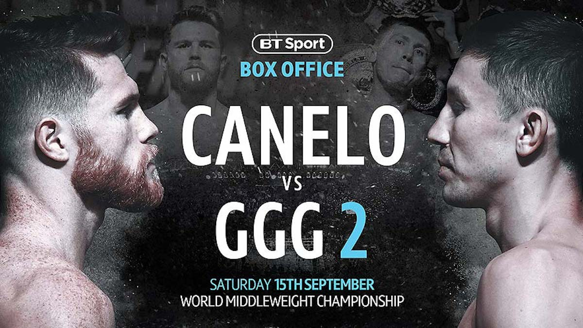 "Gennady Golovkin, Saul ""Canelo"" Alvarez - BT Sport Box Office channel now available on BT TV, Sky and Virgin"