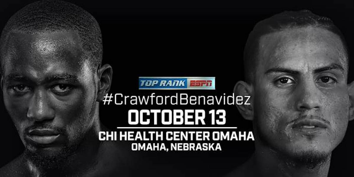 "Jose Benavidez Jr., Terence Crawford - Terence ""Bud"" Crawford will return to the scene of many of his greatest professional triumphs intent on stopping a man who has repeatedly lobbied for a fight. Crawford will make the first defense of his WBO welterweight world title against Jose Benavidez Jr. on Saturday, Oct. 13 at the CHI Health Center Omaha (formerly the CenturyLink Center). Crawford-Benavidez will air live and exclusively on ESPN and ESPN Deportes at 10:30 p.m. ET with undercards streaming live in the United States at 7 p.m. ET on ESPN+ - the new multi-sport, direct-to-consumer subscription streaming service from The Walt Disney Company's Direct-to-Consumer & International segment in conjunction with ESPN."