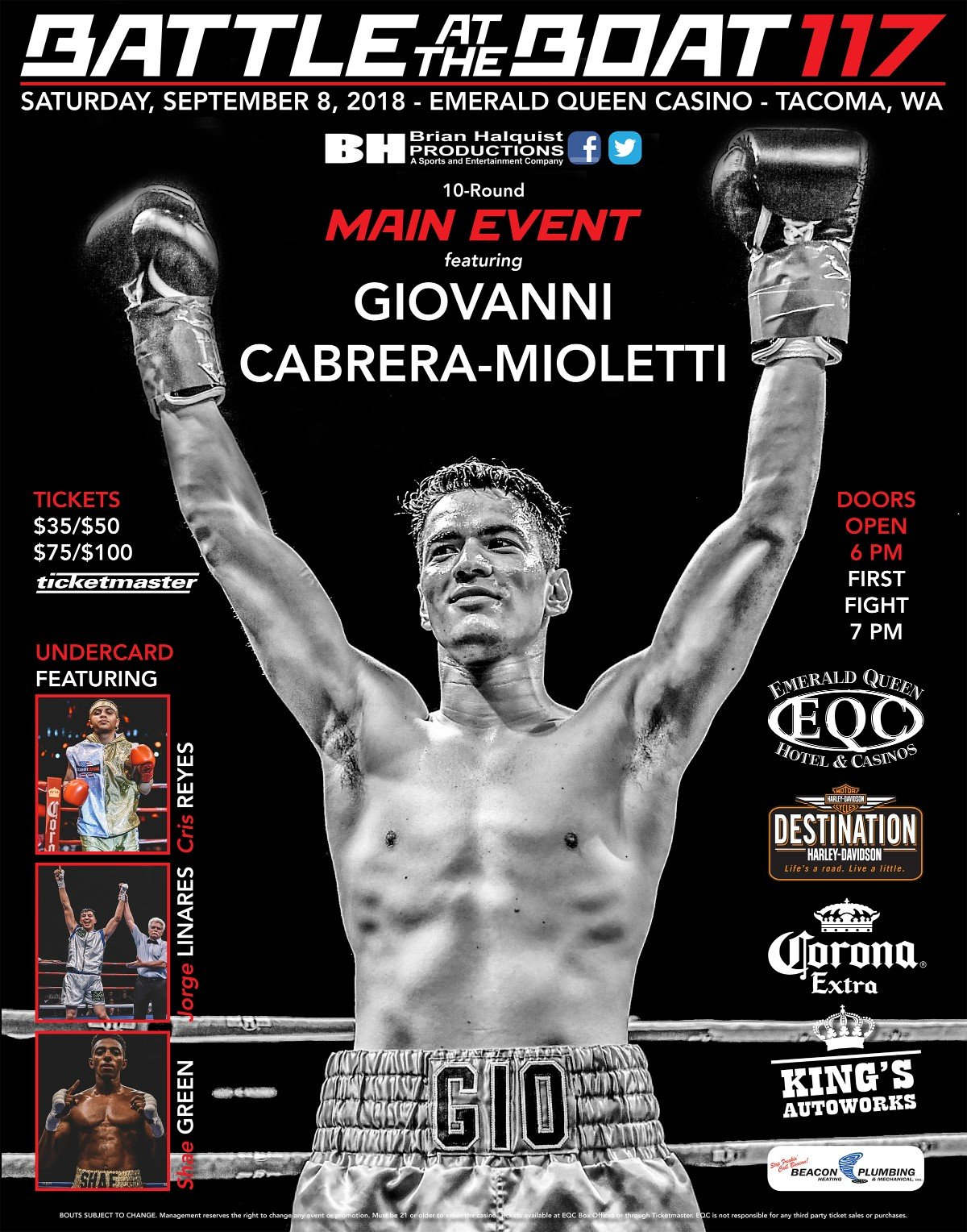 Giovanni Cabrera Mioletti - Rising star Giovanni Cabrera Mioletti will put his undefeated record on the line when he faces former world championship contender Carlos Padilla in the main event of Battle at the Boat 117 on Saturday at the Emerald Queen Casino in Tacoma, Wash.