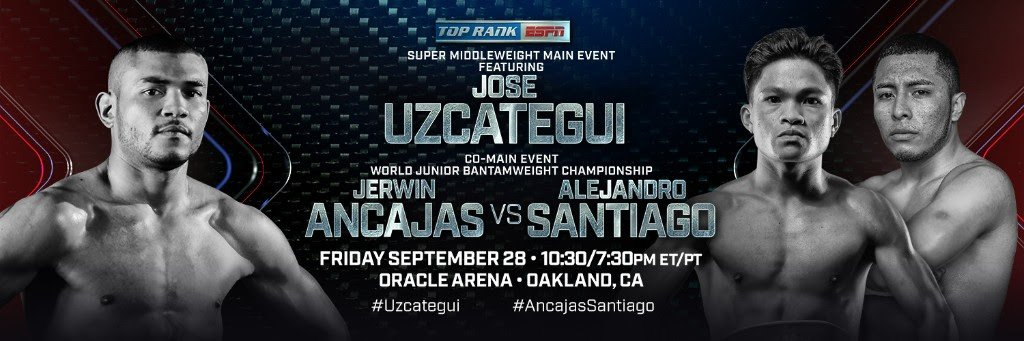 Jerwin Ancajas - A pair of former amateur stars from Kazakhstan, Janibek Alimkhanuly and Askhat Ualikhanov, will make their Top Rank debuts in separate bouts on Friday, Sept. 28 at Oracle Arena in Oakland, Calif. Alimkhanuly will face Carlos Galvan in a super middleweight contest, while Ualikhanov will take on Angel Hernandez in a super lightweight showdown on the undercard of IBF super middleweight champion Jose Uzcátegui's 10-round non-title bout against Ezequiel Maderna and Jerwin Ancajas' IBF junior bantamweight title defense versus Alejandro Santiago (ESPN+, 10:30 p.m. ET).