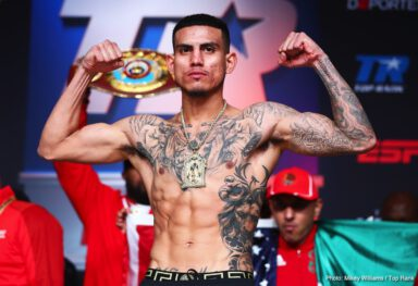 Jose Benavidez Jr. - WBO welterweight champion Terence 'Bud' Crawford came unglued during Friday's weigh-in after being shoved by his opponent Jose Benavidez Jr. during the face off.
