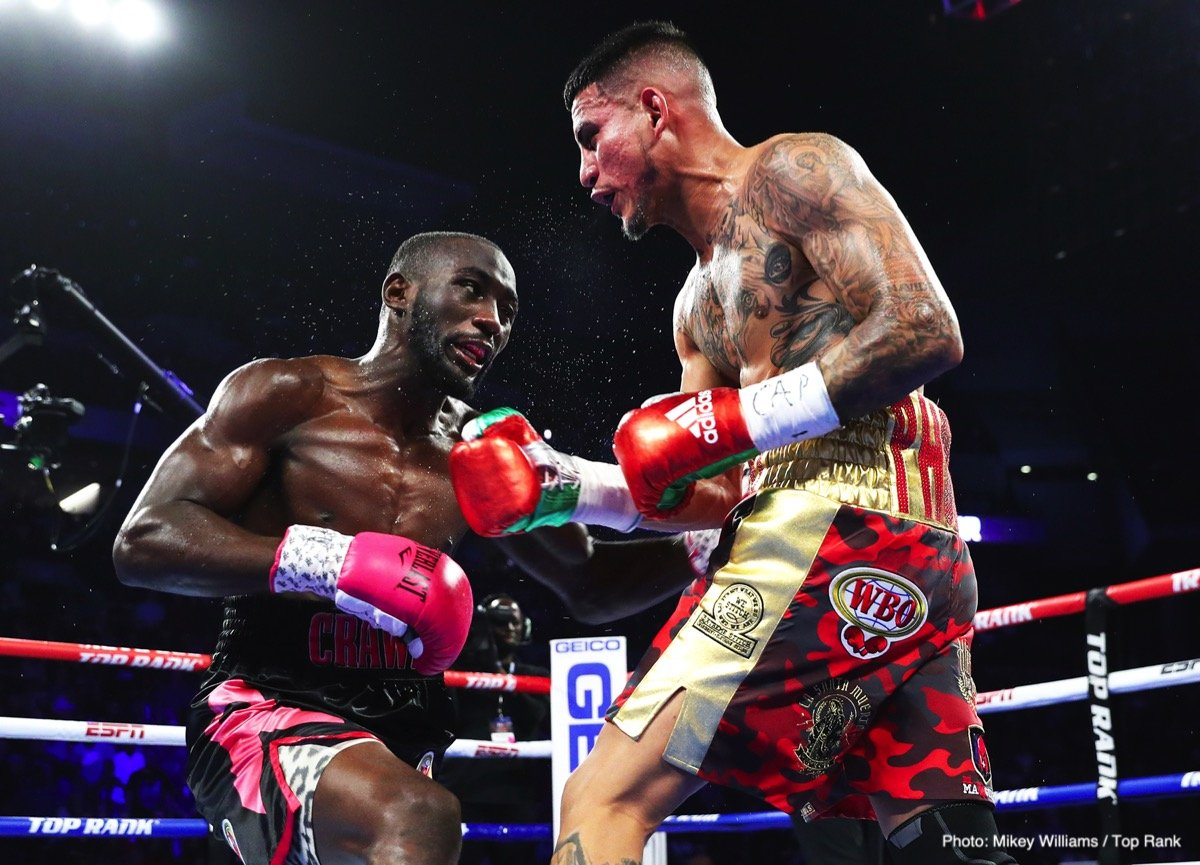 Jose Benavidez Jr. - WBO 147 lb belt holder Terence 'Bud' Crawford defeated challenger Jose Benavidez Jr. (27-1, 18 KOs) by a knockout in the 12th round on Saturday night. Fighting in front of a large crowd of friendly boxing fans, the unbeaten 31-year-old Crawford (34-0, 25 KOs) knocked fellow Top Rank promoted Benavidez Jr. down with a right uppercut in the 12th.