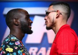 "Jose Benavidez Jr., Terence Crawford -  Following Wednesday's media day tensions, Terence ""Bud"" Crawford and Jose Benavidez Jr. were a bit more civil at Thursday's press conference. The trash talk led to an extended face-off, as pound-for-pound king Crawford (33-0, 24 KOs) readies to defend his WBO welterweight world title against Benavidez (27-0, 18 KOs) Saturday at the CHI Health Center Omaha (ESPN and ESPN Deportes, 10:30 p.m. ET)."