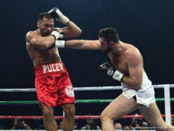 Hughie Fury, Kubrat Pulev - Tonight in Sofia, Bulgaria, Kubrat Pulev won a wide 12-round unanimous decision over the much younger Hughie Fury. In a rough, tough and at times messy affair, the 37 year old local hero proved too strong, too sturdy and too effective for the 24 year old Brit. Winning by scores of 118-110, 117-111 and a too close 115-113, Pulev improved to 26-1(13) and the Bulgarian is now in line for a shot at the IBF heavyweight title. Fury falls to 21-2(11).