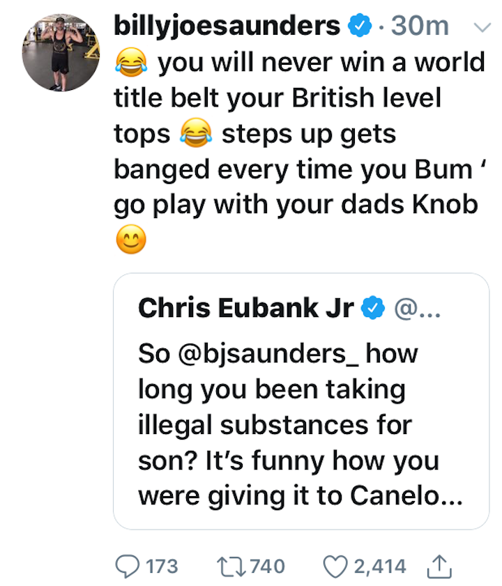 Billy Joe Saunders, Chris Eubank Jr - Chris Eubank Junior, who lost a pretty wide 12-round decision to Billy Joe Saunders back in 2014, has come out and attacked the man who took away his unbeaten pro record. Taking to social media, Eubank Jr has jumped on Saunders' recent failed drugs test (BJS insists he merely used a nasal spray) and his subsequent vacating of the WBO middleweight title.