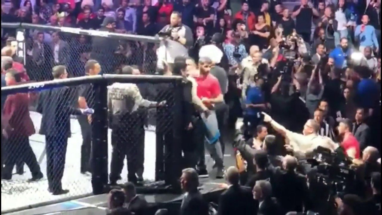 Conor McGregor - There sure were some incredible scenes inside a packed-out T-Mobile Arena in Las Vegas this past Saturday night – as surely all fight fans, boxing and MMA, know all about. After Khabib Nurmagomedov defeated Conor McGregor, all hell broke loose. The winner saw fit to leap over the top of the cage he had just beaten up McGregor in, and pounced upon one of the Irishman's team. Then, more bodies piled into the cage and set about the still-recovering McGregor!