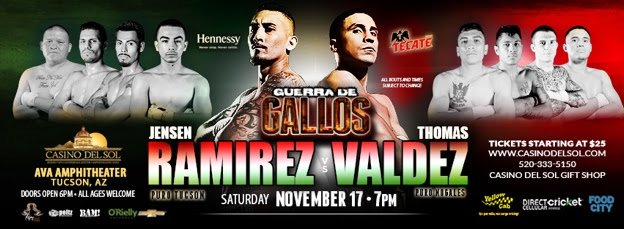 - On the heels of her sold out July 17th event at the award-winning Casino Del Sol Resort & Casino, Michelle Rosado's Raging Babe returns to the same venue on Saturday, November 17th, when super featherweights Jensen Ramirez of Tucson, and Thomas Valdez of Nogales collide in the main event, outdoors at the AVA Amphitheater. Tucson's Alfonso Olvera returns ahead of his anticipated rematch of his sensational bout with Wilberth Lopez on July's card, and Tucson's Christopher Gonzalez faces Nogales' Judas Estrada in a four-round welterweight contest.