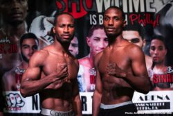 Jaron Ennis - One of boxing's top prospects, undefeated welterweight Jaron Ennis and veteran Raymond Serrano made weight just a day before their ShoBox: The New Generation 10-round main event that headlines a tripleheader live on SHOWTIME (9:35 p.m. ET/PT) from 2300 Arena in Philadelphia. The 21-year-old Ennis (21-0, 19 KOs) returns for his second ShoBox challenge of 2018 against Serrano (24-5, 10 KOs) in a battle of Philadelphia fighters facing off in their hometown.