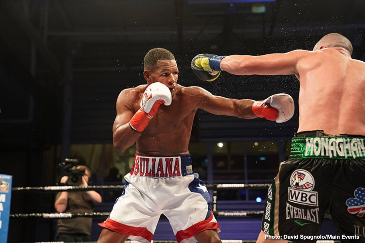 """Seanie Monaghan - Light heavyweight Sullivan Barrera (22-2, 14 KOs) dominated throughout ten rounds, emerging with a solid unanimous decision victory over a tough """"Irish"""" Seanie Monaghan (29-2, 17 KOs) Saturday at The Aviator Sports Center."""