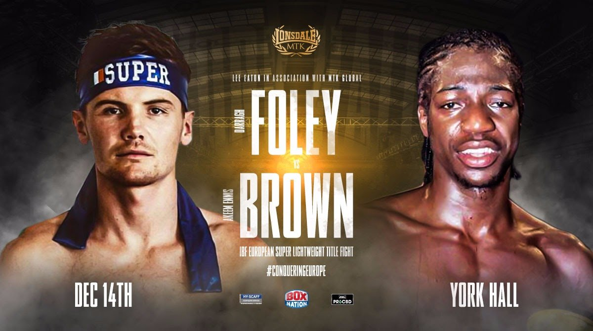 Akeem Ennis-Brown, Darragh Foley - Darragh Foley faces Akeem Ennis Brown for the vacant IBF European super-lightweight at York Hall on December 14 following the withdrawal of Johnny Coyle.