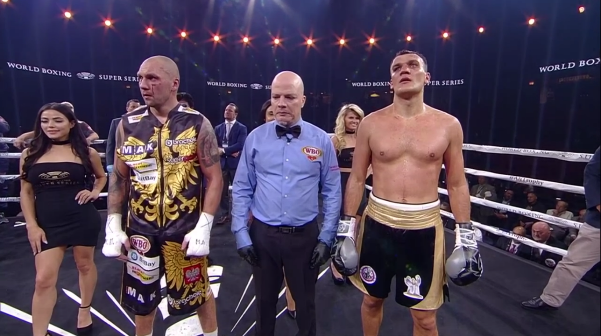 Krzysztof Glowacki, Mairis Briedis, Maksim Vlasov, Noel Mikaelian - Krzysztof Glowacki (31-1, 19 KOs) showed off his impressive punching power in beating Maksim Vlasov (44-3, 25 KOs) by a 12 round unanimous decision to win the interim World Boxing Organization cruiserweight title in their WBSS quarterfinal fight at the UIC Pavilion in Chicago. The fight was streamed on DAZN.
