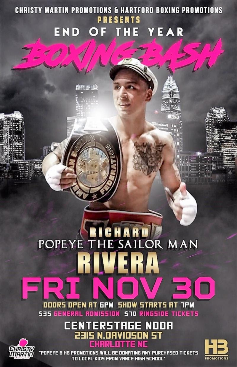 "Richard ""Popeye The Sailor Man"" Rivera - Undefeated prospect Richard ""Popeye The Sailor Man"" Rivera will take his act South this Friday night, when he fights Joshua Robertson in a ""stay busy"" fight on the ""Boxing Bash"" card, presented by Christy Martin Promotions, at Centerstage@Noda in Charlotte, North Carolina."