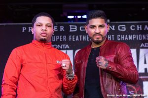 "Abner Mares, Gervonta Davis - Two-time super featherweight champion Gervonta ""Tank"" Davis and three-division world champion Abner Mares went face-to-face for the first time Thursday at a press conference in Los Angeles as Davis defends his WBA title against Mares on Saturday, February 9 live on SHOWTIME® in an event presented by Premier Boxing Champions from StubHub Center in Carson, Calif."