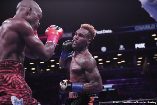 Jermall Charlo, Matt Korobov - Jermall Charlo had a tougher time than expected in beating 2008 Olympian Matt Korobov by a 12 round unanimous decision on Saturday night at the Barclays Center in Brooklyn, New York. Charlo vs. Korobov was the headliner on Premier Boxing Champions on FOX. It was an entertaining fight, but the results were questionable at best. Charlo (28-0, 21 KOs) retained his interim WBC middleweight title with his win. Charlo did come close stopping Korobov in the 12th round after hurting him with a left hand, but he failed to get him out of there.
