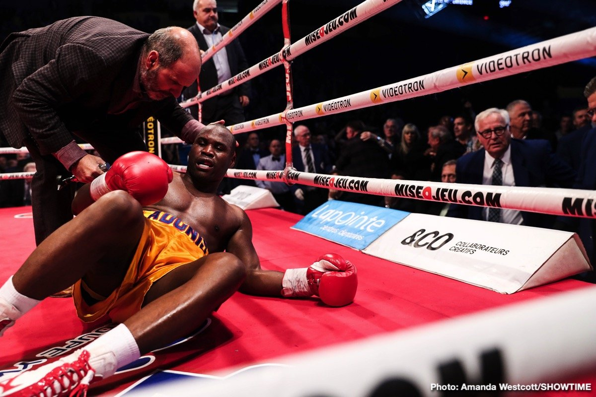 Adonis Stevenson, Oleksandr Gvozdyk - Behind on the scorecards, unbeaten Olekandr 'The Nail' Gvozdyk (16-0, 13 KOs) rallied to stop World Boxing Council light heavyweight champion Adonis Stevenson (29-2, 24 KOs) in the 11th round on Saturday night in front of a packed house at the Centre Videotron, Quebec City.