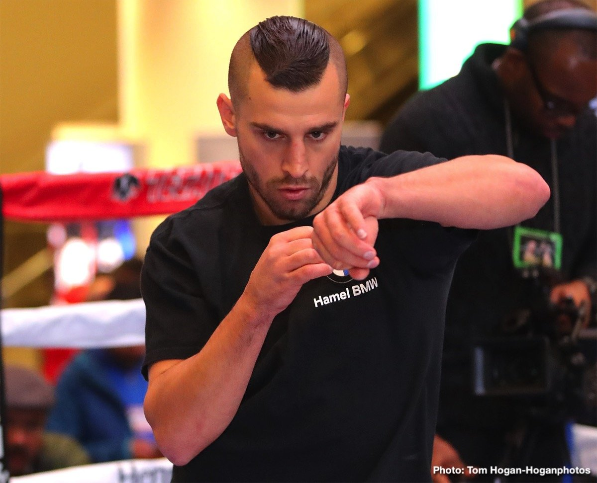 "Daniel Jacobs, David Lemieux, John Ryder, Saul ""Canelo"" Alvarez -  David Lemieux (40-4, 34 KOs) will make his 168-pound debut when he takes on John ""The Gorilla"" Ryder (27-4, 15 KOs) in the scheduled 12-round co-main event of Canelo vs. Jacobs. The card will also feature the returns of Vergil Ortiz Jr., Pablo Cesar ""El Demoledor"" Cano, Joseph ""JoJo"" Diaz Jr., Sadam ""World Kid"" Ali and Lamont Roach Jr., in separate bouts. The event will take place Saturday, May 4 at T-Mobile Arena in Las Vegas and will be streamed live exclusively on DAZN."
