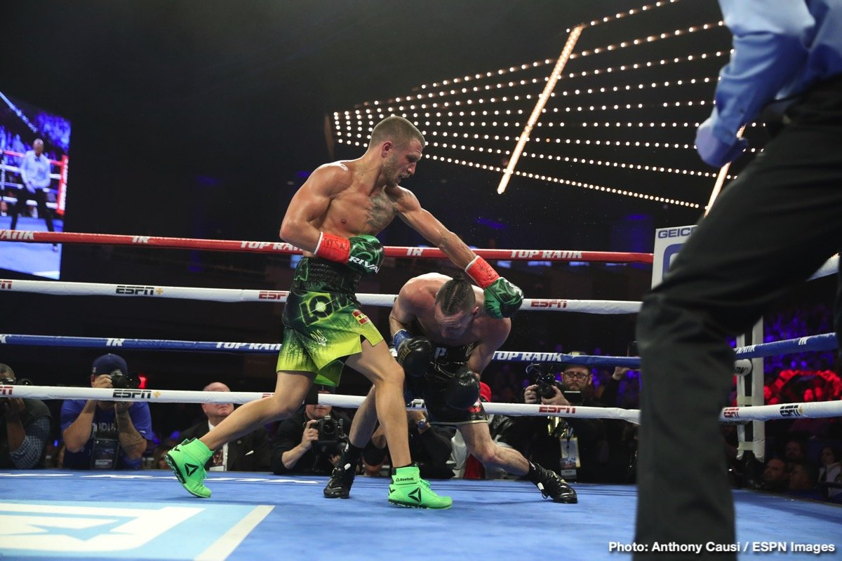 "Vasyl Lomachenko - The superb Vasyl Lomachenko, for many the pound-for-pound best boxer in the world today, returned to action following shoulder surgery last night, and ""Hi Tech"" looked about as perfect as he always has; with zero signs of any problems with his shoulder. In shutting out a game Jose Pedraza, the gifted southpaw from Ukraine is now the WBA/WBO and Ring Magazine lightweight ruler."