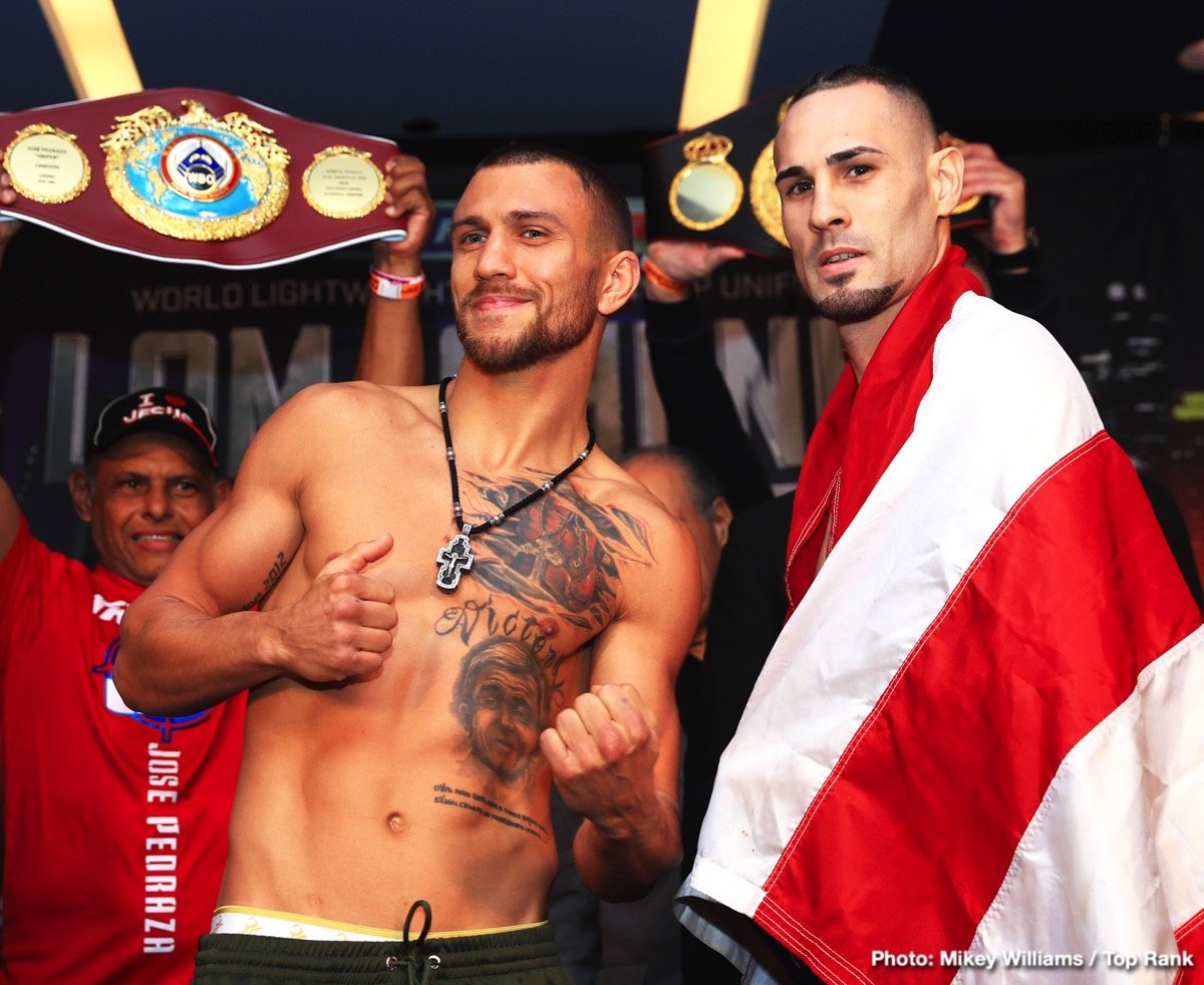 Jose Pedraza, Vasyl Lomachenko - This Saturday night Vasiliy Lomachenko's hopes are set high in effort to accomplish yet another feat in an already impressive career with only 12 fights. His opponent Jose Pedraza puts his WBO lightweight title on the line in a unification bout at the Hulu Theater in Madison Square Garden, on ESPN. Can the Puerto Rican native present issues for the best pound-for-pound fighter in the world? Or will Vasiliy make another boxer quit on the stool?