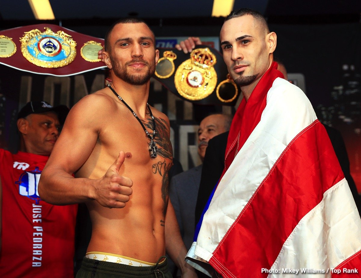 Jose Pedraza - This Saturday night Vasiliy Lomachenko's hopes are set high in effort to accomplish yet another feat in an already impressive career with only 12 fights. His opponent Jose Pedraza puts his WBO lightweight title on the line in a unification bout at the Hulu Theater in Madison Square Garden, on ESPN. Can the Puerto Rican native present issues for the best pound-for-pound fighter in the world? Or will Vasiliy make another boxer quit on the stool?