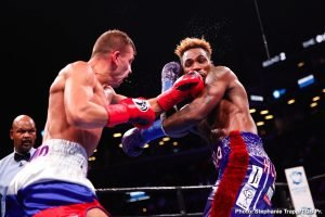 Matt Korobov - WBC Interim Middleweight Champion Jermall Charlo (28-0, 21 KOs) won a hard-fought unanimous decision over Matt Korobov (28-2, 13 KOs) to defend his title in the main event of Premier Boxing Champions on FOX and FOX Deportes Saturday night from Barclays Center, the home of BROOKLYN BOXING™.