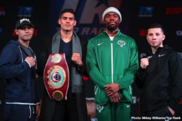 """Gilberto Ramirez, Jesse Hart - Undefeated WBO super middleweight champion Gilberto """"Zurdo"""" Ramirez (38-0, 25 KOs) and No. 1 contender Jesse """"Hollywood"""" Hart (25-1, 21 KOs) have been here before. The two fought in September of last year, with Ramirez prevailing via tight unanimous decision."""