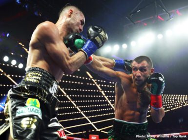 Emanuel Navarrete, Isaac Dogboe, Jose Pedraza, Vasyl Lomachenko - WBA lightweight champion Vasiliy Lomachenko wanted to unify lightweight world titles. After 12 rounds, he got his wish, although WBO champion Jose Pedraza sure didn't make it easy and halted Lomachenko's eight-bout knockout streak in the process.