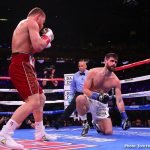 Rocky Fielding - Saul Canelo Alvarez (51-1-2, 35 KOs) put on a brilliant body punching clinic in defeating WBA World super middleweight champion Rocky Fielding (27-2, 15 KOs) by a brutal four-knockdown 3rd round knockout victory at a sound out Madison Square Garden in New York.