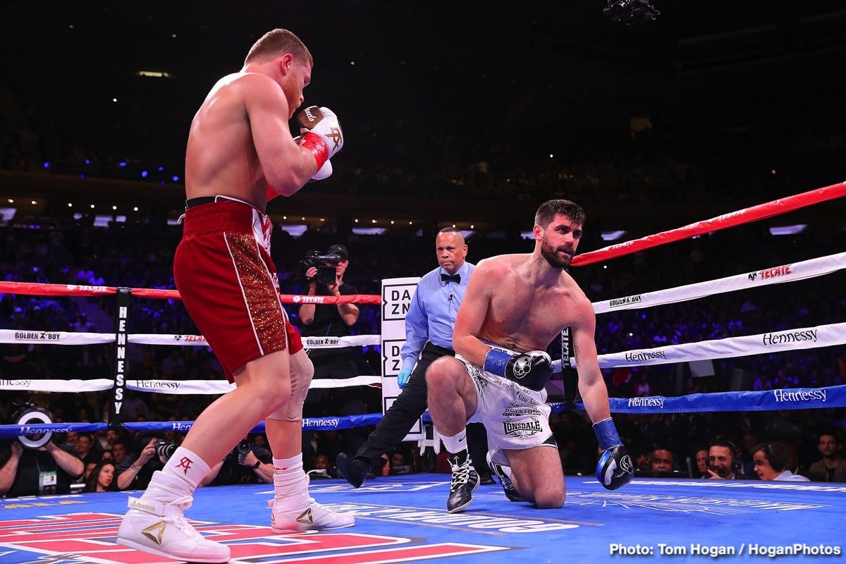 "Rocky Fielding, Saul ""Canelo"" Alvarez - Saul Canelo Alvarez (51-1-2, 35 KOs) put on a brilliant body punching clinic in defeating WBA World super middleweight champion Rocky Fielding (27-2, 15 KOs) by a brutal four-knockdown 3rd round knockout victory at a sound out Madison Square Garden in New York."