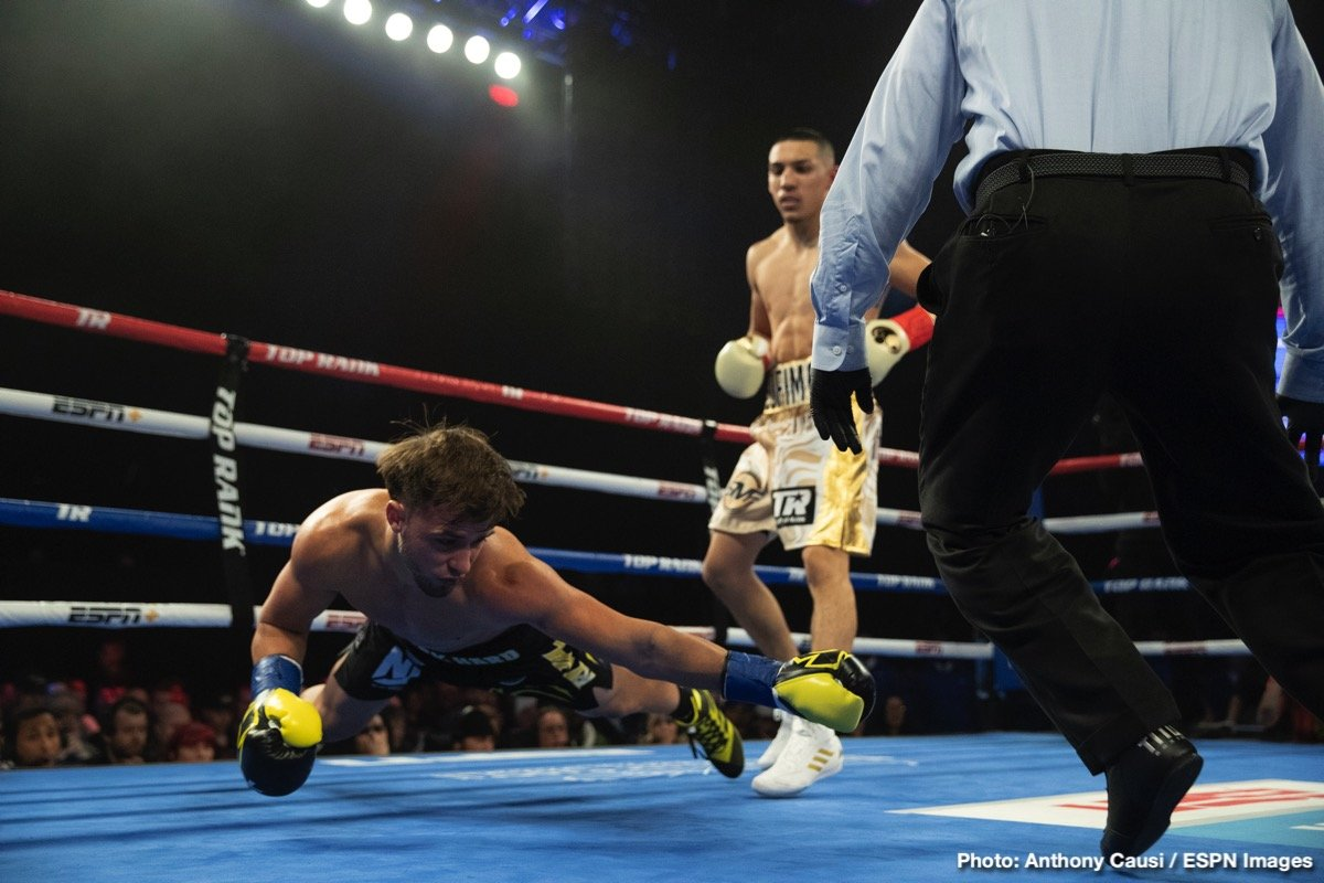 The Teofimo Express Rolls On! Teofimo Lopez (11-0, 9 KOs) showed why, at age 21, he is the sport's fastest rising star, knocking out Mason Menard with a right hand at only 44 seconds of the opening round. Menard (34-4, 24 KOs) fell face-first, and the fight was immediately waved off.