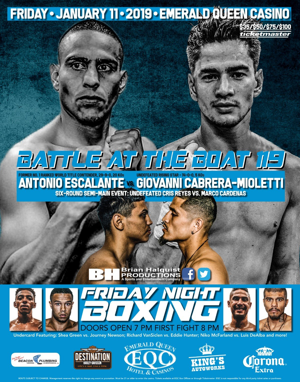 Antonio Escalante, Giovanni Cabrera Mioletti - Brian Halquist Productions will kick off its 2019 Battle at the Boat boxing schedule with a special Friday night event on Friday, Jan. 11 at the Emerald Queen Casino in Tacoma, Wash.