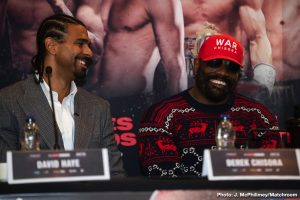 Dereck Chisora - He may or may not fight on the October 26th show set for The O2 in London, to go out on Sky Sports Box-Office, but heavyweight warrior Dereck Chisora sure fired some serious shots at today's official press conference to hype his fight with Joseph Parker, along with the WBSS final between unbeaten talent Regis Prograis and Josh Taylor.