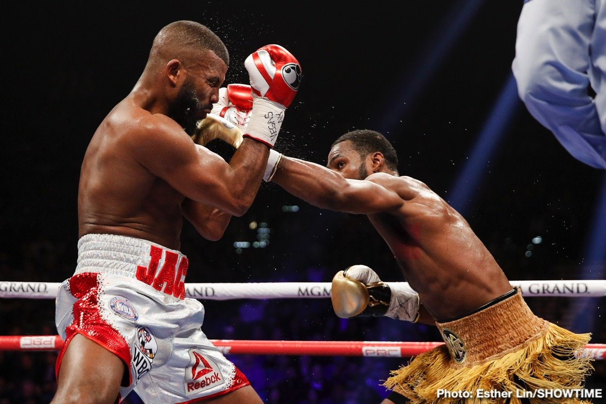 Badou Jack, Marcus Browne - Marcus Browne (23-0, 16 KOs) defeated former 2 division belt holder Badou Jack (22-2-3 13 KOs) by a 12 round unanimous decision after cutting him bad with an accidental head-butt at the MGM Grand in Las Vegas, Nevada. The 35-year-old Jack suffered a gruesome cut on his forehead from a clash of heads in the sixth.