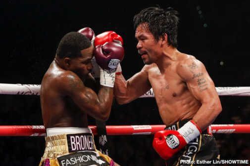 "Adrien Broner, Badou Jack, Hugo Ruiz, Manny Pacquiao, Marcus Browne, Nordine Oubaali -  All-time great Manny ""Pacman"" Pacquiao cruised to a comfortable unanimous decision over Adrien ""The Problem"" Broner to defend his WBA Welterweight World Championship on SHOWTIME PPV® Saturday night in front of a sold-out MGM Grand Garden Arena in Las Vegas. The scores were 117-111, 116-112 twice."