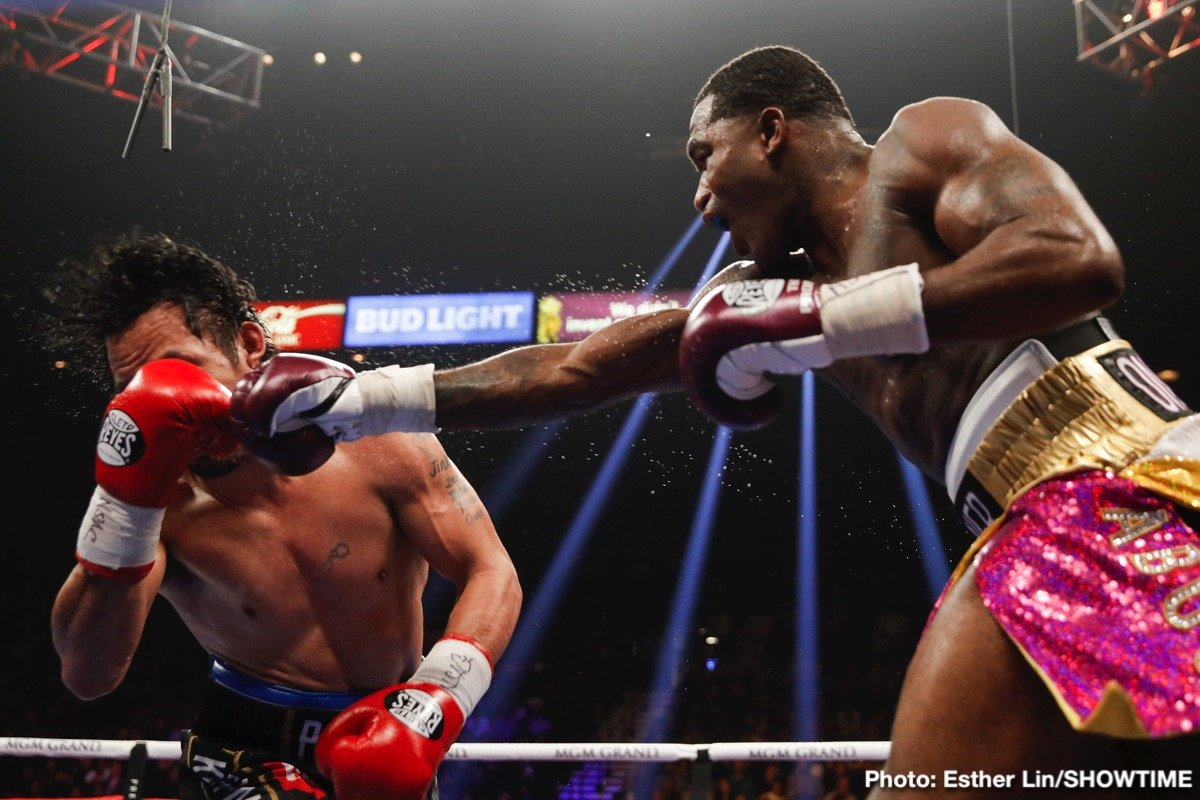 Adrien Broner, Manny Pacquiao - In a predictable outcome, WBA World welterweight champion Manny Pacquiao (61-7-2, 39 KOs) dominated the serviceable former four division world champion Adrien 'The Problem' Broner (33-4-1, 24 KOs) in handing him a 12 round unanimous decision on Saturday night in front of a large crowd at the MGM Grand in Las Vegas, Nevada.