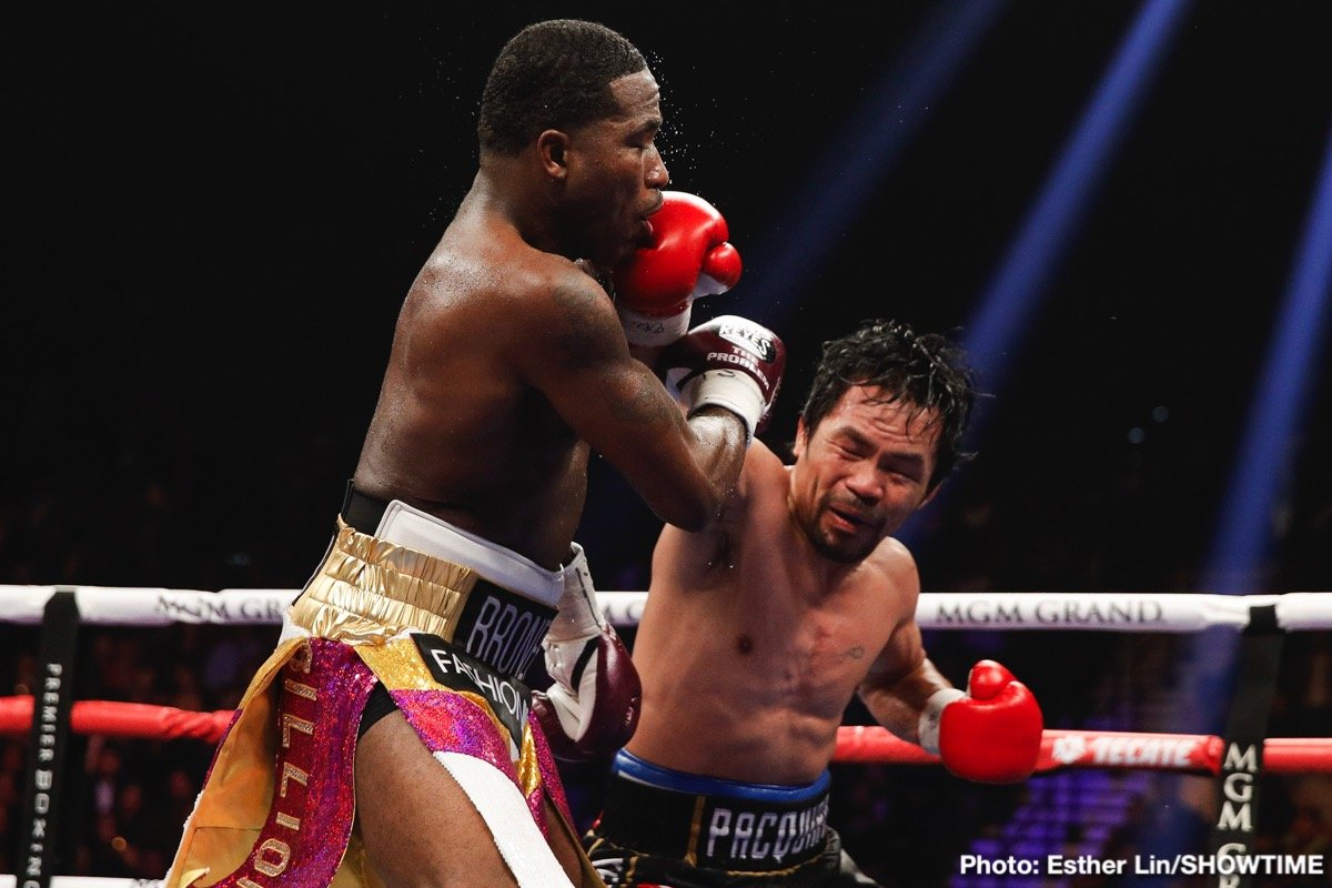 "All-time great Manny ""Pacman"" Pacquiao cruised to a comfortable unanimous decision over Adrien ""The Problem"" Broner to defend his WBA Welterweight World Championship on SHOWTIME PPV® Saturday night in front of a sold-out MGM Grand Garden Arena in Las Vegas. The scores were 117-111, 116-112 twice."