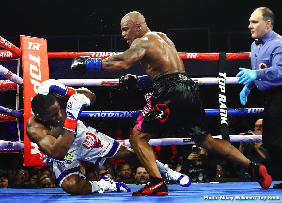 "Bryant Jennings - For 11 rounds, the action happened in fits and starts. Then, in round 12, heavyweight contender Oscar Rivas lowered the boom, knocking out former world title challenger Bryant ""B.Y."" Jennings. Rivas knocked down Jennings in the 12th round, then a follow-up flurry pinned Jennings against the ropes and forced referee Gary Rosato to stop the fight."
