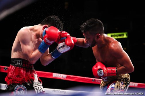 Jaime Munguia - In an electric night of boxing at the Toyota Center on Saturday night, WBO Junior World Middleweight Titlist Jaime Munguia went the distance and ultimately defended his belt against Takeshi Inoue by unanimous decision. In the co-main event, after twelve rounds of fireworks, Xu Can upset Jesus Rojas to become the new WBA Featherweight Champion. Vergil Ortiz Jr. also put on a dominating performance against Jesus Valdez, winning by TKO at the end of the fifth round.