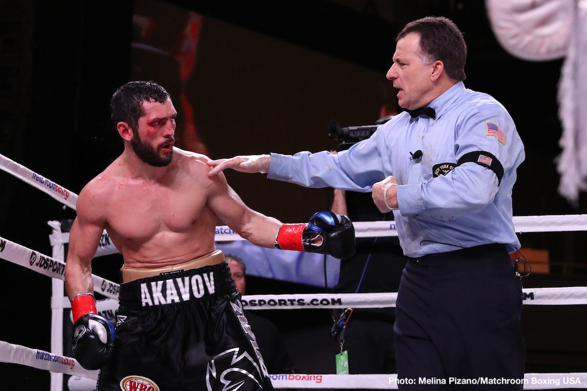 "Artur Akavov, Demetrius Andrade - WBO middleweight champion Demetrius ""Boo Boo"" Andrade (27-0, 17 KOs) took care of business in beating hopelessly over matched Artur Akavov (19-3, 8 KOs) in winning a premature 12th round knockout on Friday night on DAZN at Madison Square Garden in New York City. It was a good win for Andrade, and it keeps him moving forward for the big fights against Saul Canelo Alvarez, Gennady Golovkin and Daniel Jacobs."