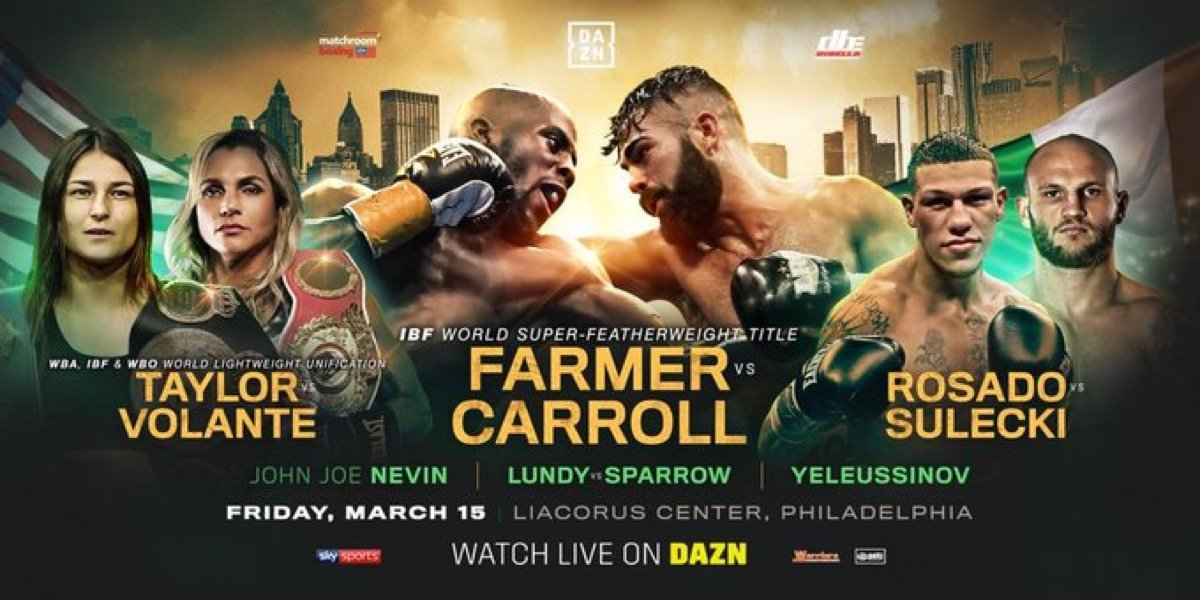Jono Carroll - Tevin Farmer will defend his IBF World Super-Featherweight title against Jono Carroll at the Liacouras Center in Philadelphia on Friday March 15, live on DAZN in the US and on Sky Sports in the UK.