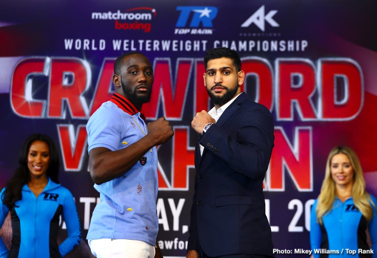 Amir Khan, Terence Crawford - BOB ARUM: Before Terence takes the questions, I just want to say what a privilege it is to have him on and have him on this promotion. You have to realize that 40 years ago I promoted the great welterweight of that time, Sugar Ray Leonard, and now, 40 years later, I have the honor of promoting the successor to Sugar Ray Leonard, Terence Crawford. I believe Terence Crawford is the best welterweight in the world. Certainly a contender for pound-for-pound the best fighter in the world, and I believe he is in a real fight with Amir Khan, who I have explained to everybody that I have been a fan of. He is a terrific fighter and that's what Terence wants – challenges – as he goes on with his great career.