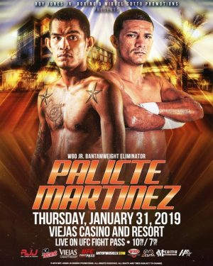"Aston Palicte - Roy Jones Jr. Boxing Promotions has put together a solid card to support the World Boxing Organization (WBO) junior bantamweight world title eliminator between ""Mighty"" Aston Palicte (24-2-1, 20 KOs) and Jose ""Chiquiro"" Martinez (20-0-2, 13 KOs) on January 31 at Viejas Casino & Resort in Alpine, California."