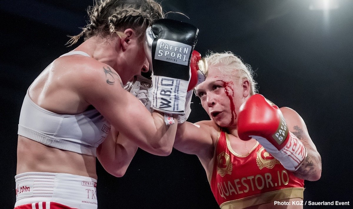 - Dina Thorslund (13-0, 6 KOs) defended her WBO Female World Super Bantamweight title with a unanimous points decision against Alesia Graf (29-8, 13 KOs) last night at the Struer Energi Park in Denmark, despite suffering a cut above her left eye following an accidental clash of heads in the seventh round.