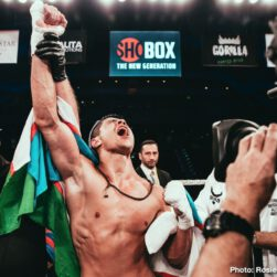 Mykal Fox - Shohjahon Ergashev overcame a five and a half-inch height advantage recording a unanimous decision victory over fellow undefeated prospect Mykal Fox in the 10-round super lightweight main event of ShoBox: The New Generation Friday on SHOWTIME from the Kansas Star Casino.