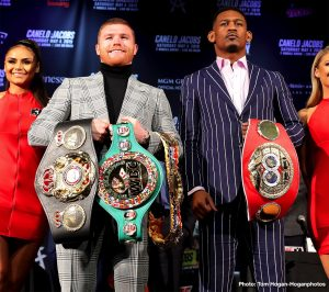 """Daniel Jacobs, Saul """"Canelo"""" Alvarez - Canelo Alvarez (50-1-2, 34 KOs), WBC, WBA, Lineal and Ring Magazine Middleweight World Champion, and Daniel """"Miracle Man"""" Jacobs (35-2, 29 KOs), IBF Middleweight World Champion, hosted a press conference today at Hard Rock Cafe in New York City ahead of their 12-round unification fight during the celebratory weekend of Cinco de Mayo. The champion-vs.-champion event will take place at T-Mobile Arena in Las Vegas Saturday, May 4 and will be streamed live exclusively on DAZN."""