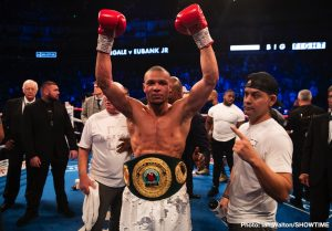 James DeGale - Chris Eubank Jr. (28-2, 21 KOs) had too much youth, speed and talent for former IBF super middleweight champion James 'Chunky' DeGale (25-3-1, 15 KOs) in beating him by a 12 round unanimous decision tonight in their long awaited match on SHOWTIME at the O2 Arena in London, England.